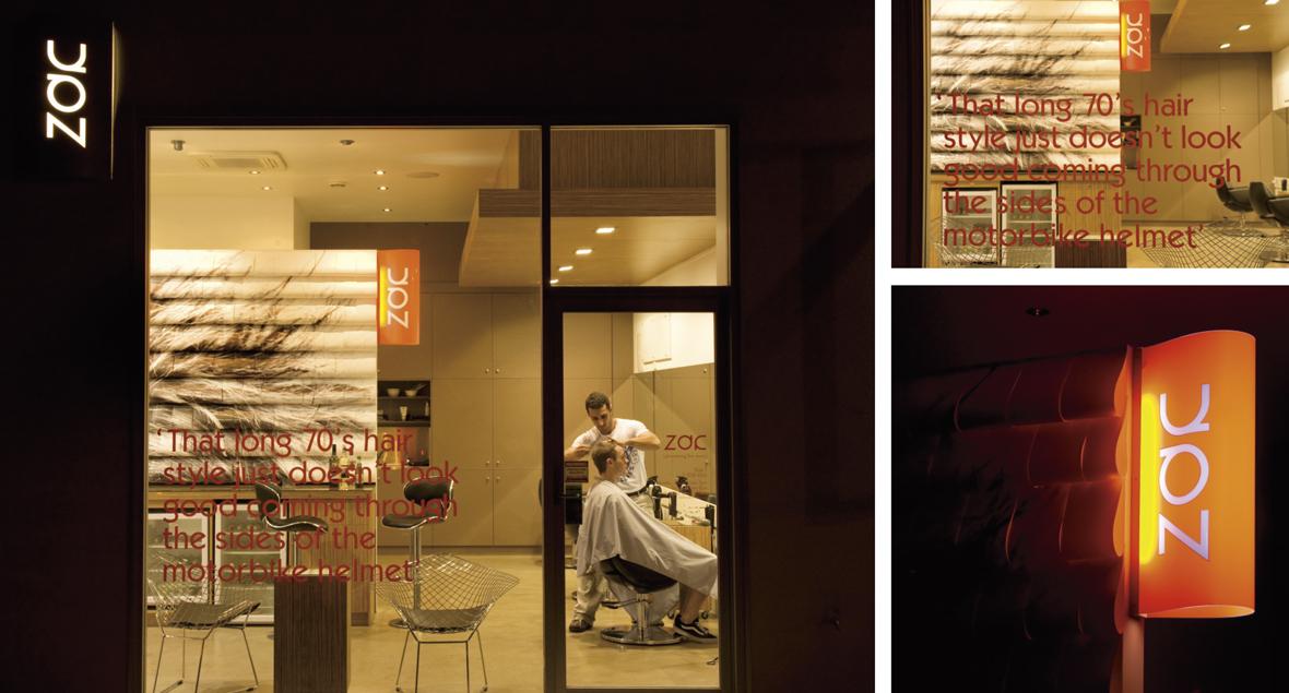 Zac Hair Care, Signage Design, Black Squid Design