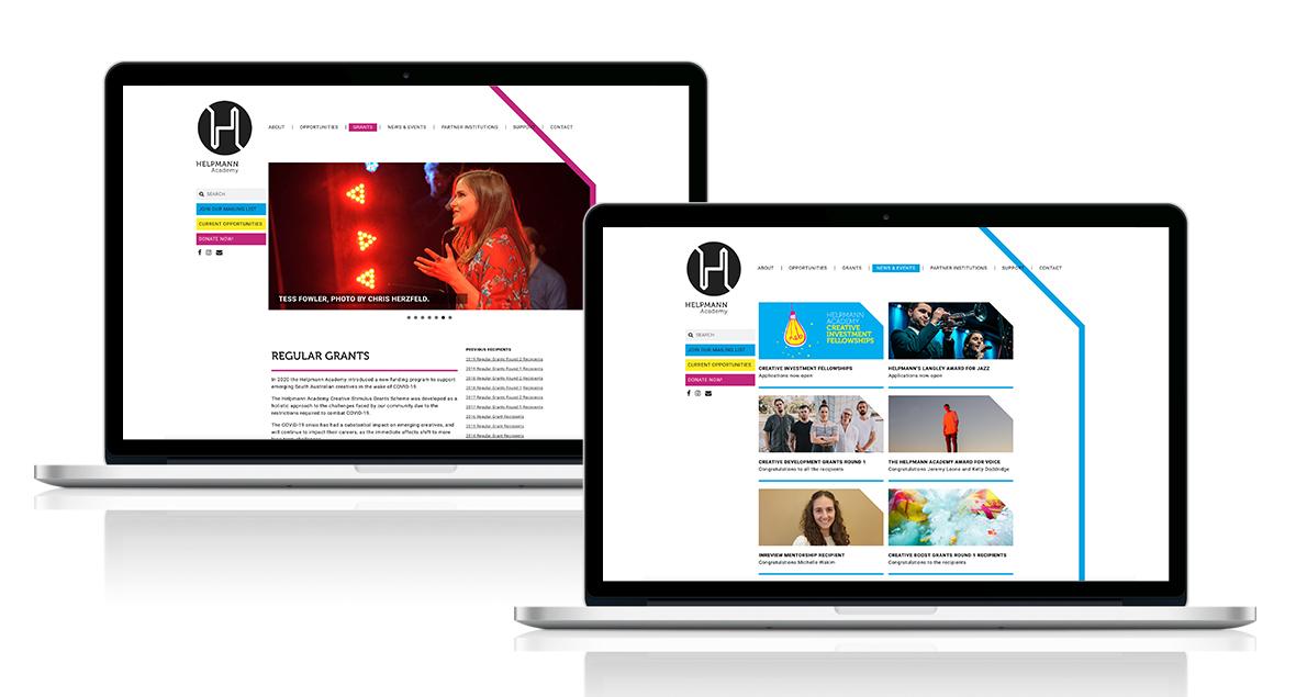 Helpmann Academy, Logo Design, Branding, Website Design, Black Squid Design