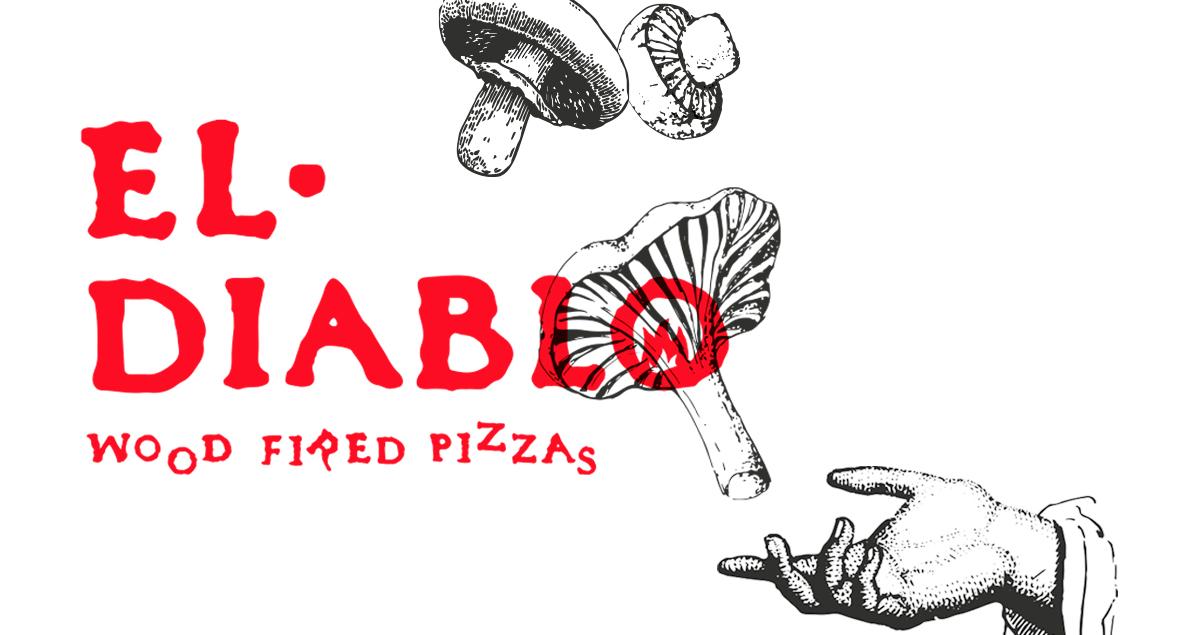 El Diablo Wood Fired Pizzas, Illustration, Branding, Black Squid Design