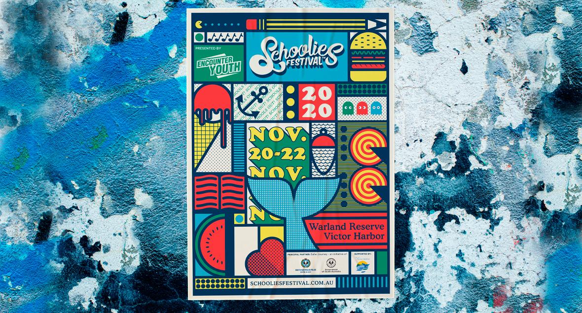 Schoolies Festival, Illustration, Black Squid Design