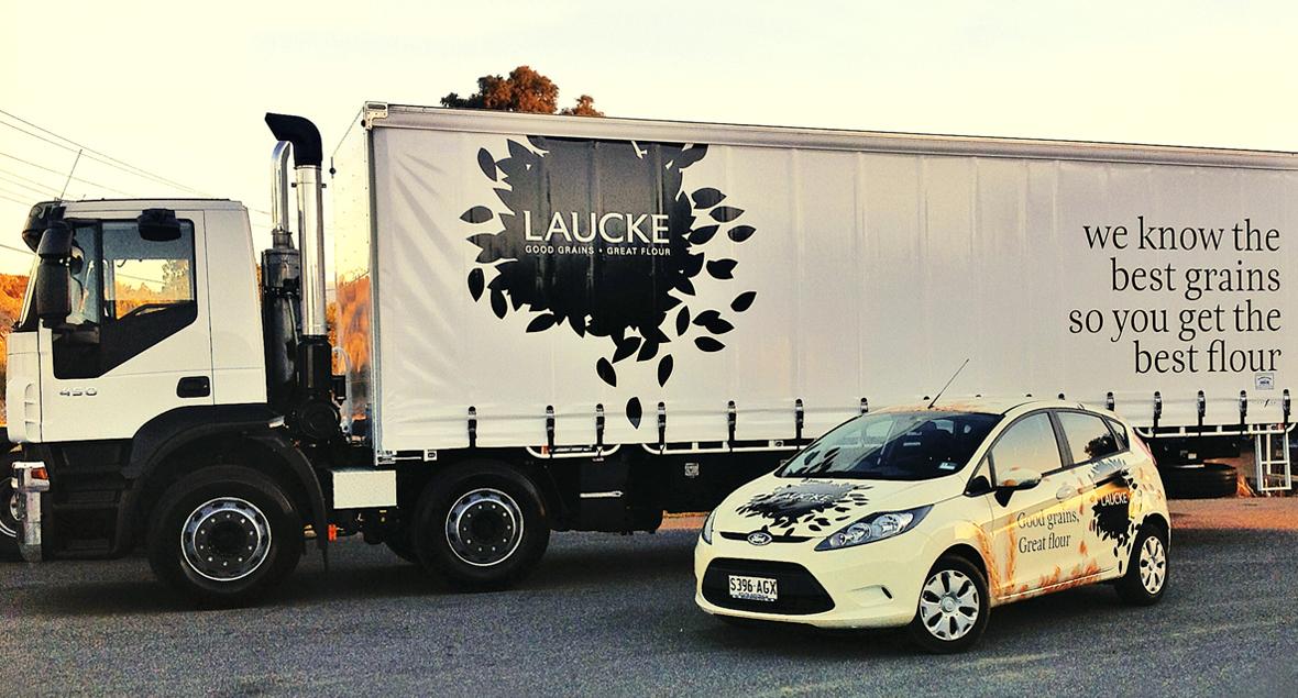 Laucke, Signage Design, Car Wrap, Truck Signage, Black Squid Design