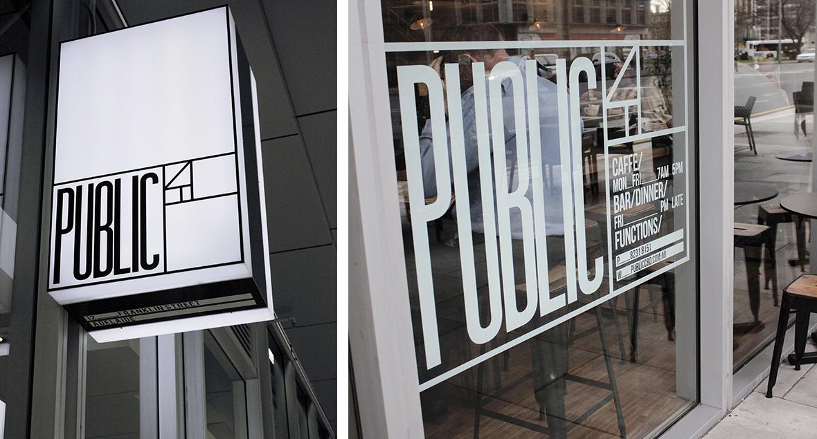 Public, Cafe Signage, Black Squid Design